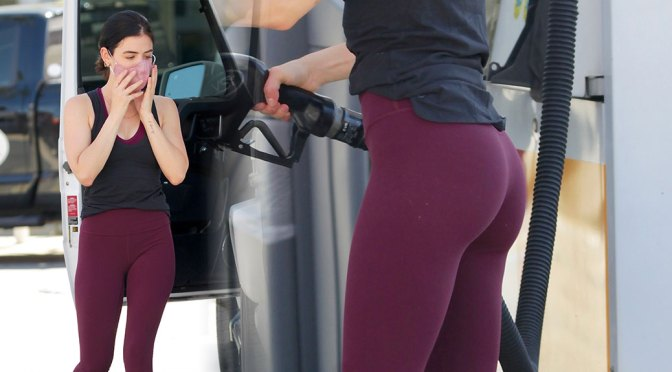 Lucy Hale – Fantastic Ass in Tight Leggings at gas station in Studio City