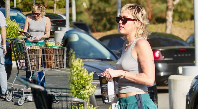 Miley Cyrus – Appealing Braless Boobs in Tank TOp Out in Los ANgeles
