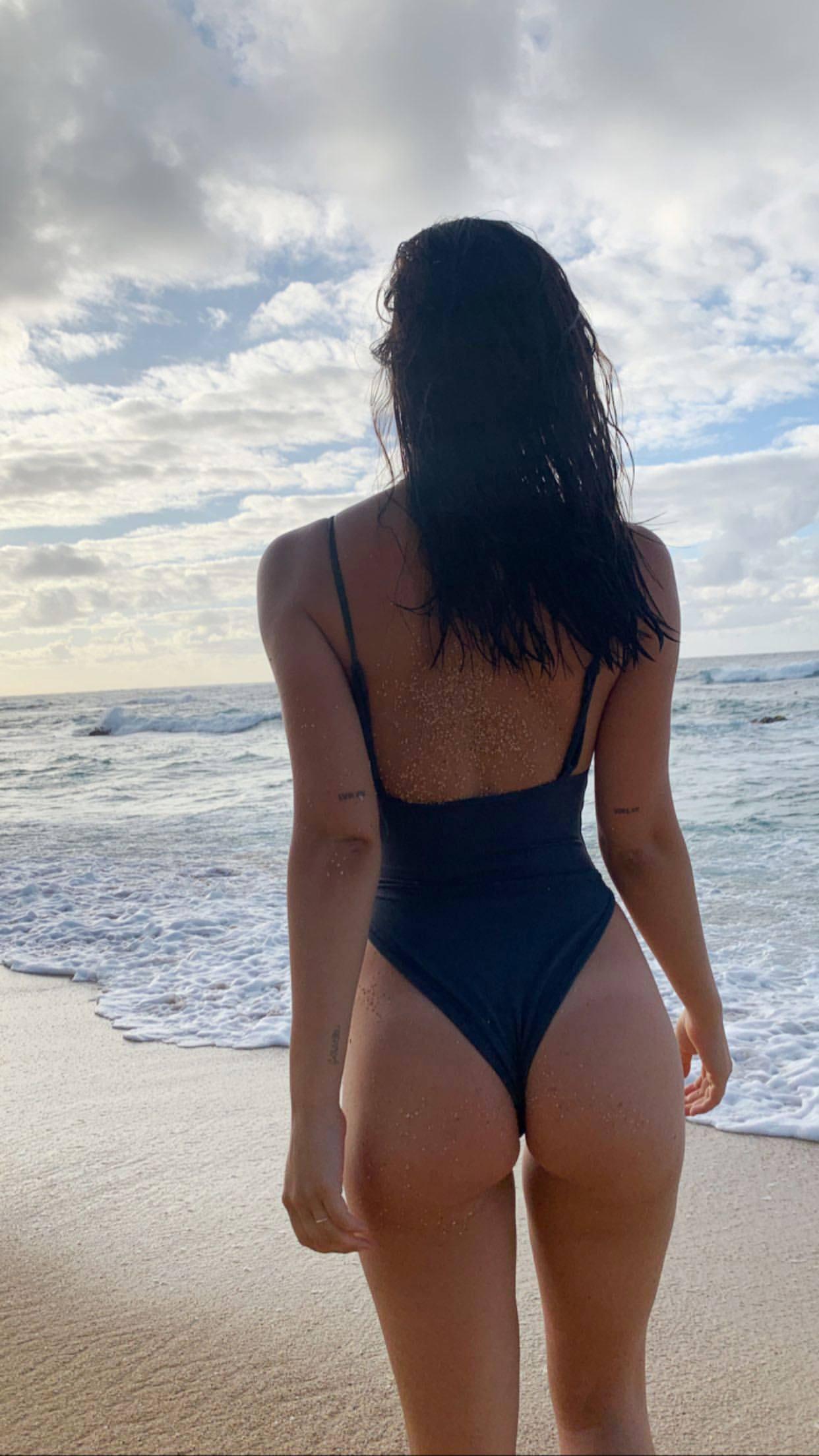 Alexis Ren Hot Black Swimsuit