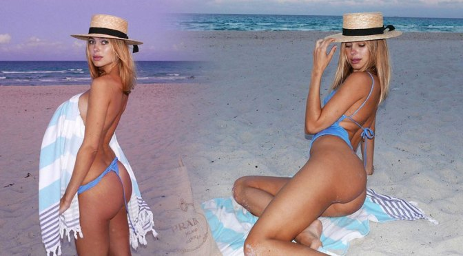 Kimberley Garner – Fantastic Ass in Sexy Blue Swimsuit Photoshoot