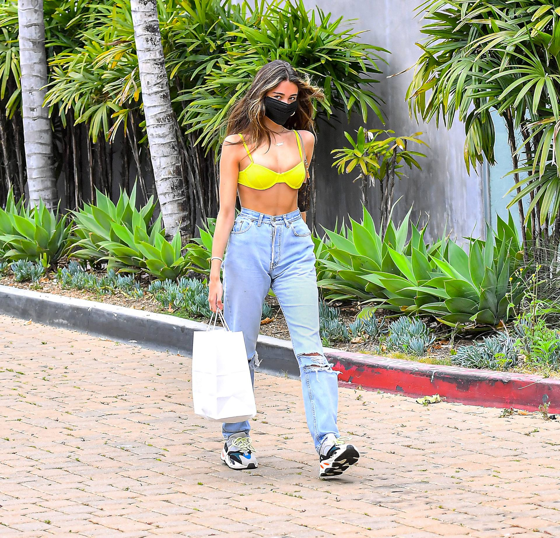Madison Beer Sexy In Yellow Bra