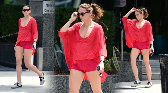 Shantel VanSanten – Sexy Legs in Tiny Red Shorts Out in Los Angeles