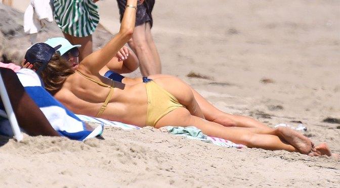 Alessandra Ambrosio – Sexy Ass in Tiny Bikini on the Beach in Malibu