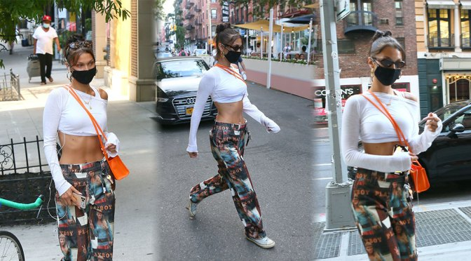 Bella Hadid – Sexy Toned Body in Cropped Top Out in New York