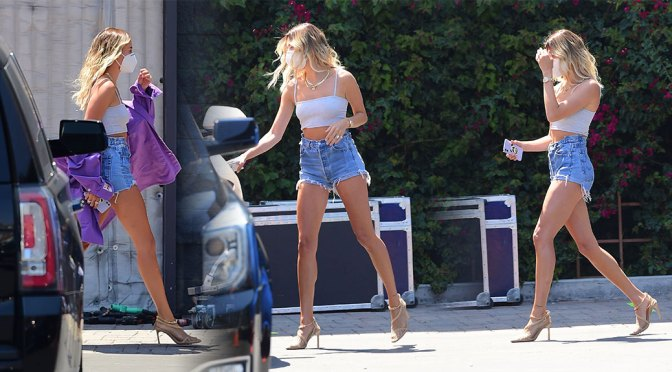 Hailey Bieber – Beautiful Long Legs on a Music Video Set in Los Angeles