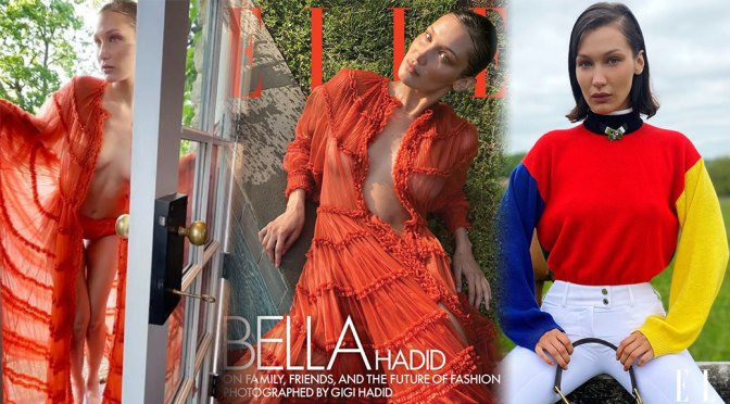 Bella Hadid – Beautiful Boobs in Braless Photoshoot for Elle Magazine (August 2020)