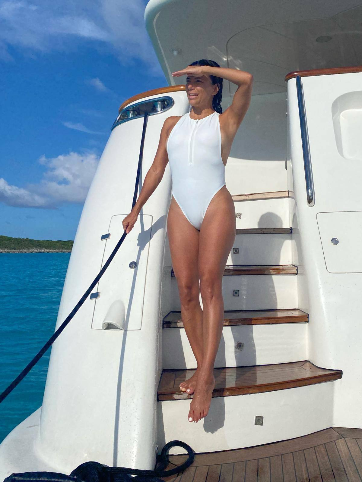 Ebva Longoria Hot White Swimsuit