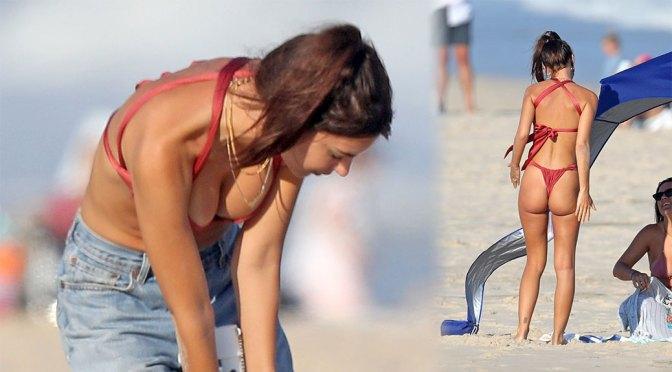 Emily Ratajkowski – Sexy Body in Red Thong Bikini on the Beach in the Hamptons