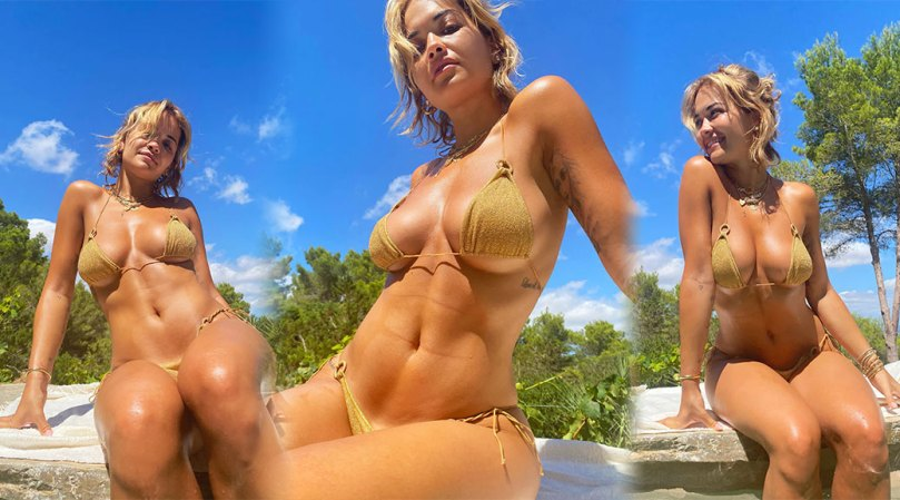 Rita Ora Beautiful Boobs In Golden Bikini