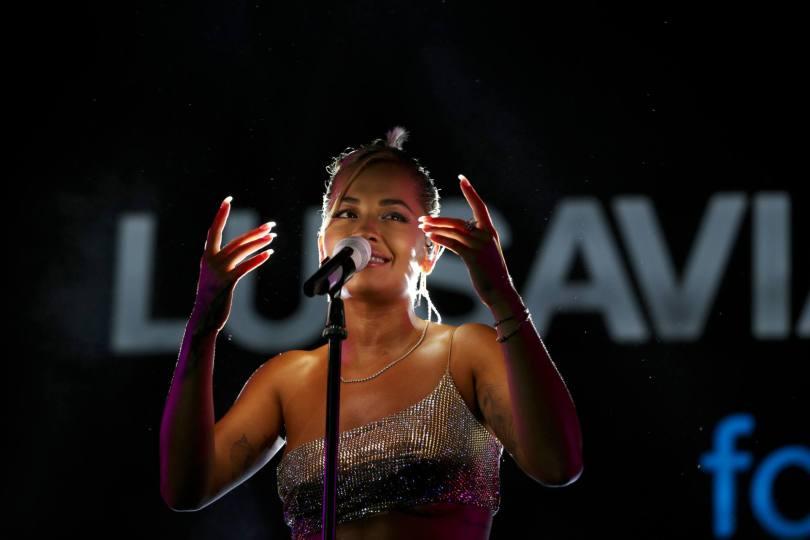 Rita Ora In Beautiful Dress