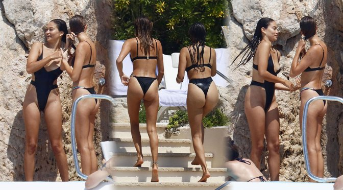 Shanina Shaik – Sexy Ass in Revealing Thong Swimsuit in Antibes