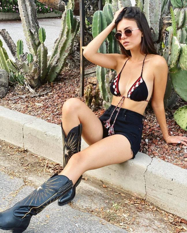 Victoria Justice Sexy In Bikini Top And Boots