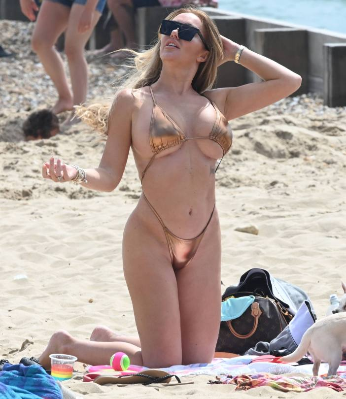 Aisleyne Horgan-Wallace - Big Ass in Tiny G-String Bikini on the Beach in Bournemouth