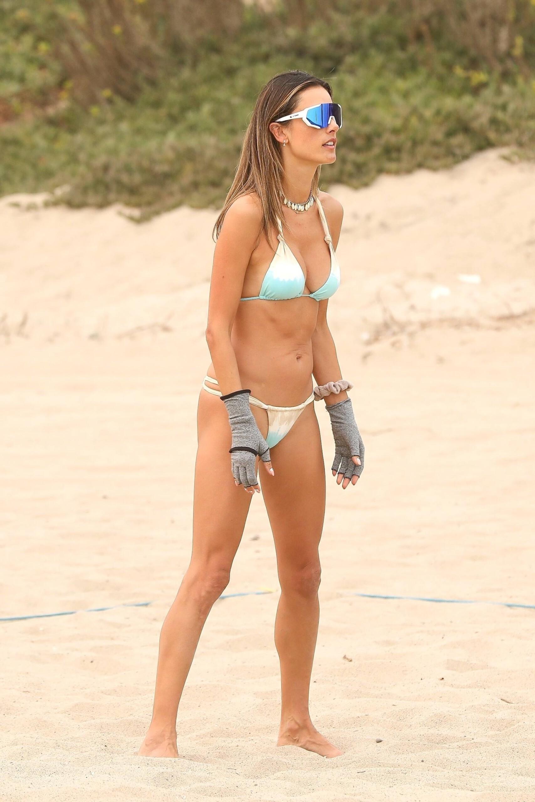 Alessandra Ambrosio - Hot Body in Small BIkini on the Beach in Malibu