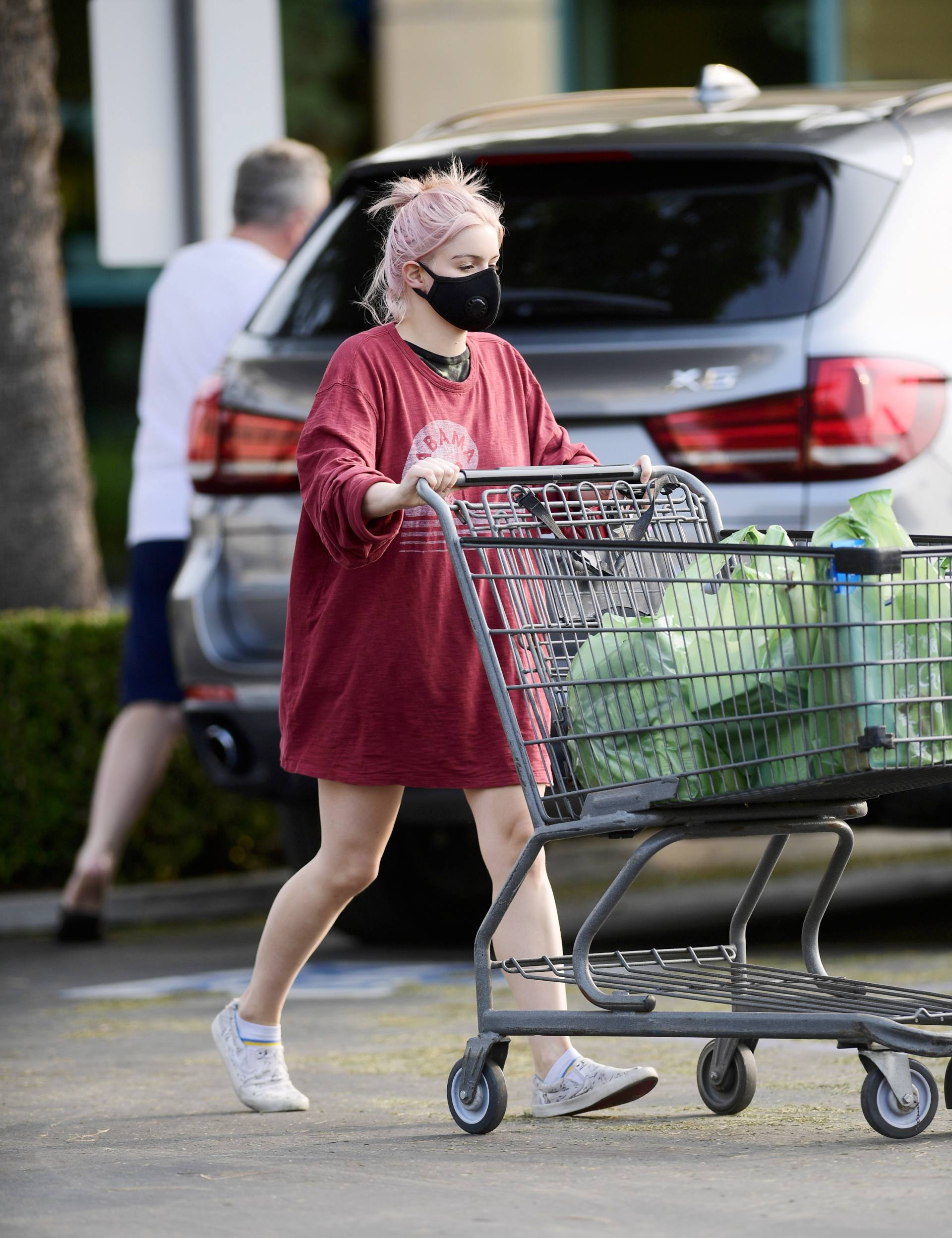 Ariel Winter - Hot Upskirt in Red Shirt Out in Los Angeles