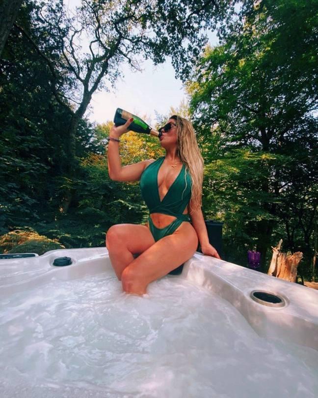 Bianca Gascoigne Sexy Green Swimsuit