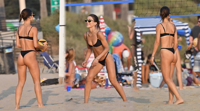 Camila Coelho – Beautiful Ass in Thong BIkini on the Beach in Santa Monica