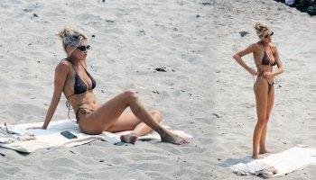 Charlotte McKinney - Fantastic Boobs in PrettyLittleThing Bikini on the Beach in Miami Beach