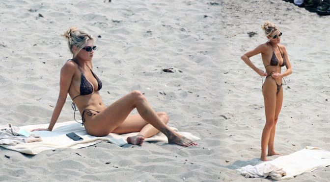 Charlotte McKinney – Fantastic Boobs in Small Black Bikini on the Beach in Malibu