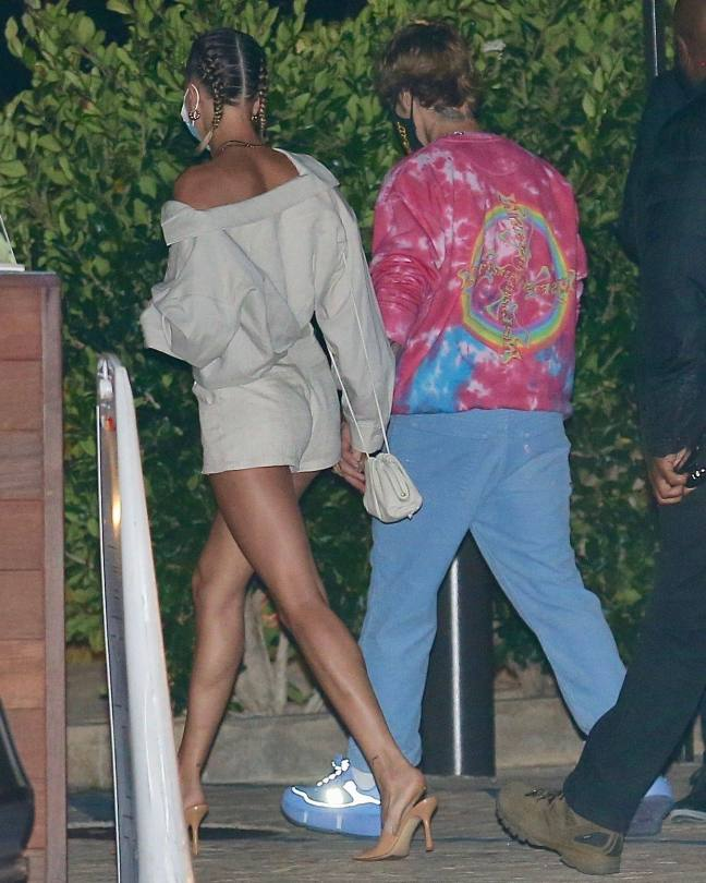 Hailey Bieber - Sexy Long Legs at Nobu in Malibu
