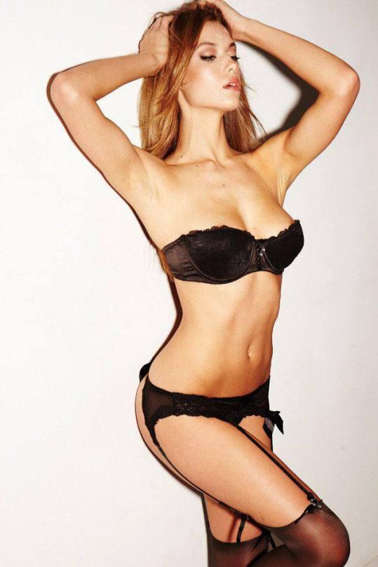 Hannah Ferguson In Black Lingerie