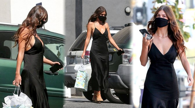 Camila Morrone – Sexy Braless BOobs in Black Dress Out in Hollywood