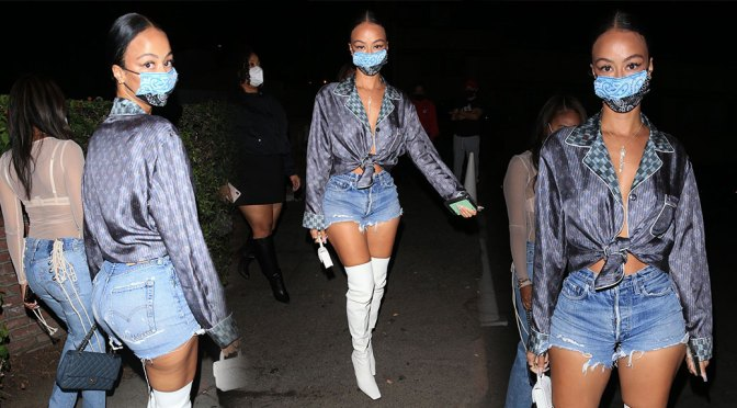 Draya Michele – Hot Body in Boots and Shorts Out in West Hollywood