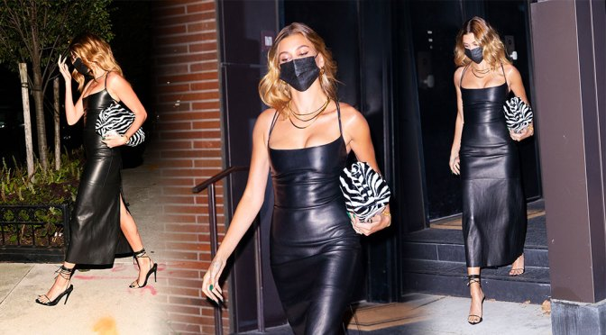 Hailey Baldwin – Sexy Cleavage in Leather Black Dress at SNL Studios in New York