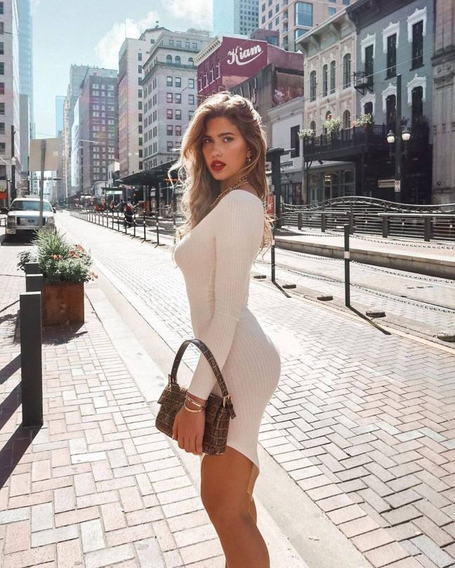 Kara Del Toro Fantastic Body In White Dress