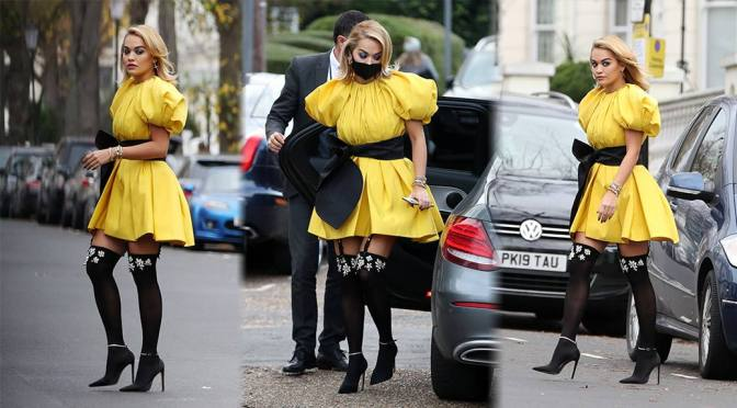 Rita Ora – Beautiful in Heels and Stockings Out in London