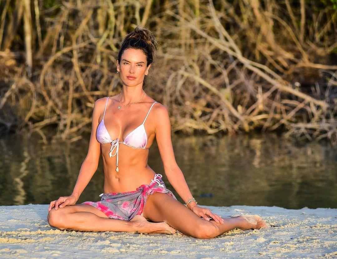 Alessandra Ambrosio Sexy Bikini Yoga