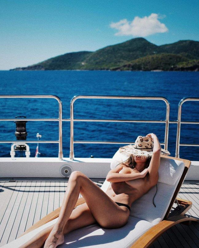 Josephine Skriver Topless On Boat