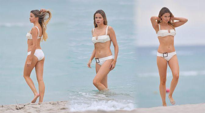 Louisa Warwick – Lovely Body in a Sexy Bikini on the Beach in Miami