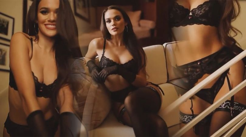 Madison Pettis Sexy Boobs In Black Lingerie