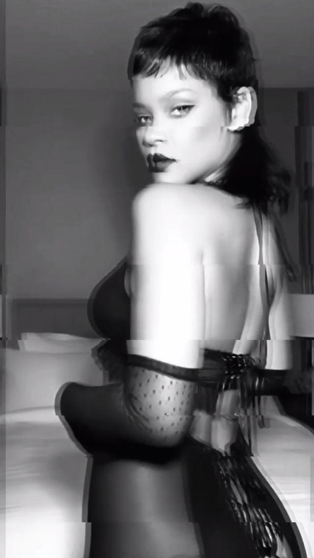Rihanna Hot In Black Lingerie