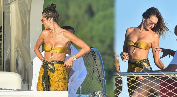 Alessandra Ambrosio – Beautiful Boobs on a Yacht in Florianopolis