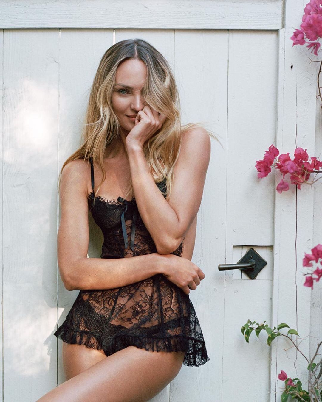 Candice Swanepole In Black Lingerie
