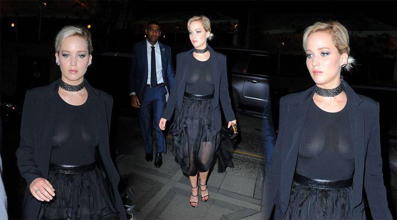 Jennifer Lawrence Braless See Through