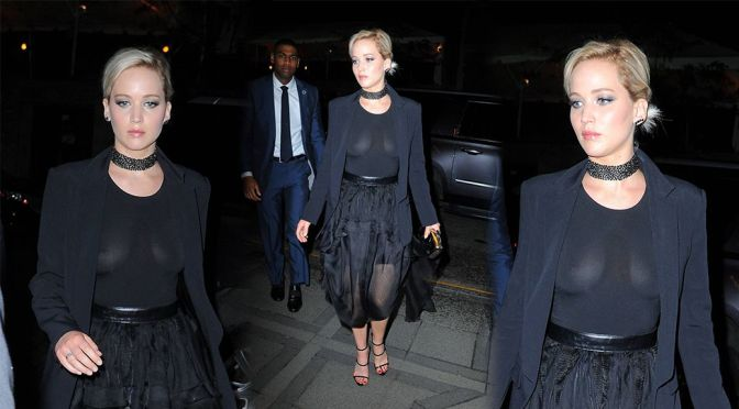 Jennifer Lawrence – Beautiful Braless Boobs and Nipples Out in New York