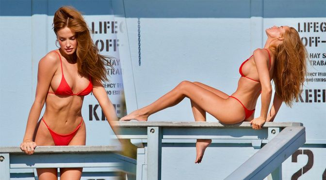 Haley Kalil – Gorgeous Body in a Sexy Thong Bikini During a Photoshoot in Malibu