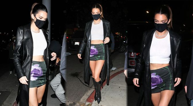 Kendall Jenner – Sexy Legs in a Mini Skirt at The Nice Guy in West Hollywood