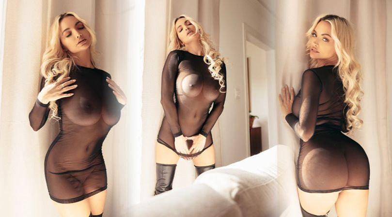 Lindsey Pelas Naked In Sheer Dress