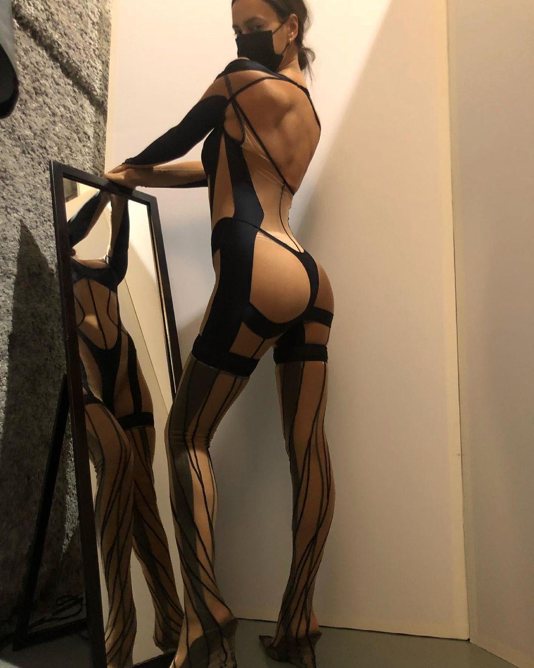 Irina Shayk Black Thong Jumpsuit