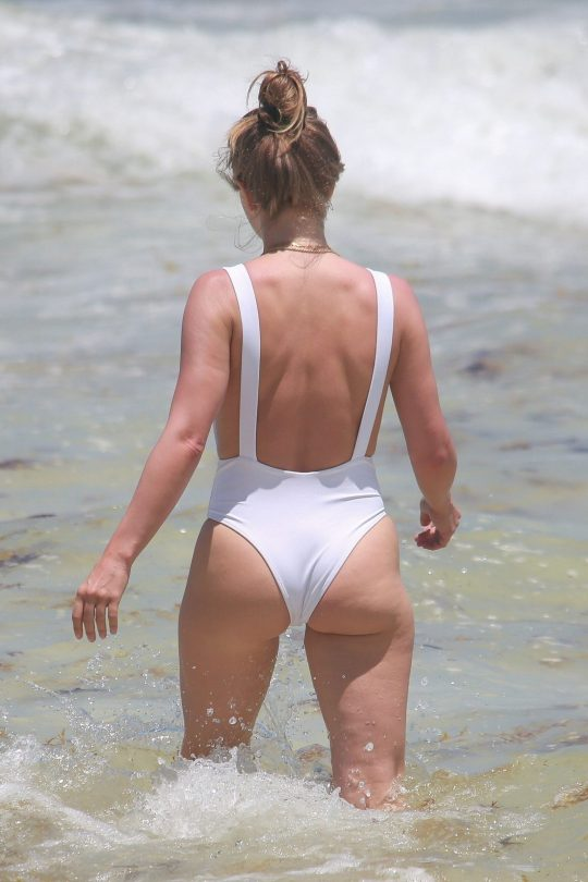 Julianne Hough In White Swimsuit