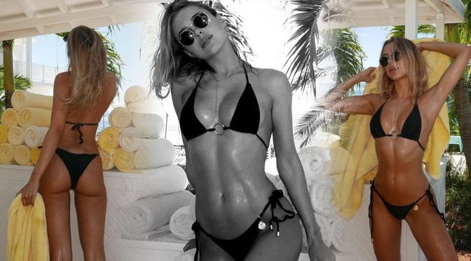 Kimberley Garner – Stunning Body in a Tiny Black Bikini
