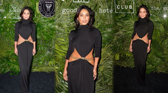 Vanessa Hudgens – Braless in a Sexy Black Dress at Inter Miami CF Season Opening Party at the Goodtime Hotel in Miami