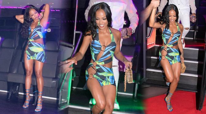 Karrueche Tran – Stunning Legs in a Sexy Revealing Dress at Kiki On The River in Miami