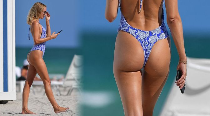Kimberley Garner – Gorgeous Ass in a Thong Swimsuit in Miami Beach
