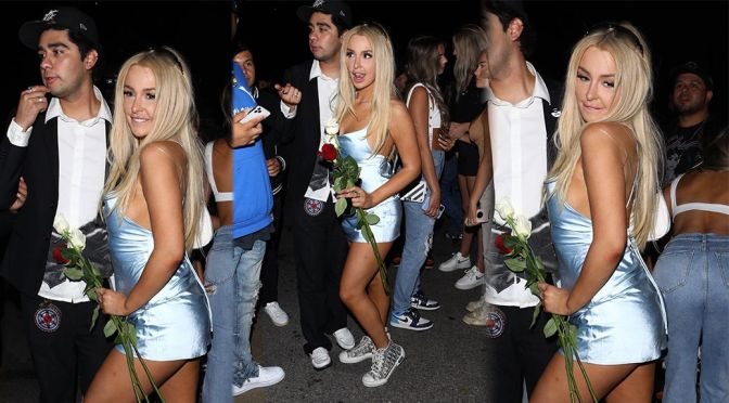 Tana Mongeau – Sexy Legs in SMall Dress at Hyde in Hollywood
