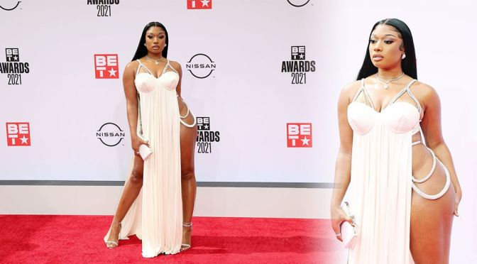 Megan Thee Stallion – Stunning Body in a Risky Dress at BET Awards 2021 in Los Angeles